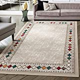 Antep Rugs Alfombras Modern Bordered 8x10 Non-Skid (Non-Slip) Low Profile Pile Rubber Backing Indoor Area Rugs (Beige, 8' x 10'3')