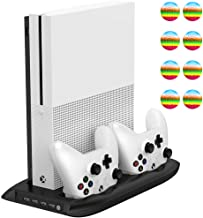 TPFOON Xbox One S Vertical Stand Cooling Fan with Dual Controller Charging Station and 4-Port USB Hub for Xbox One Slim Console, 8 Thumb Grips Included
