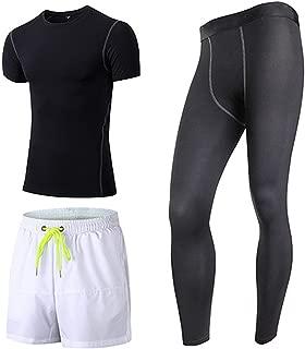 Romantico 3 Pcs Quick Dry Men's Sport Suit Compression Tracksuit Fitness Tight T-Shirt Gym Running Leggings Sportswear