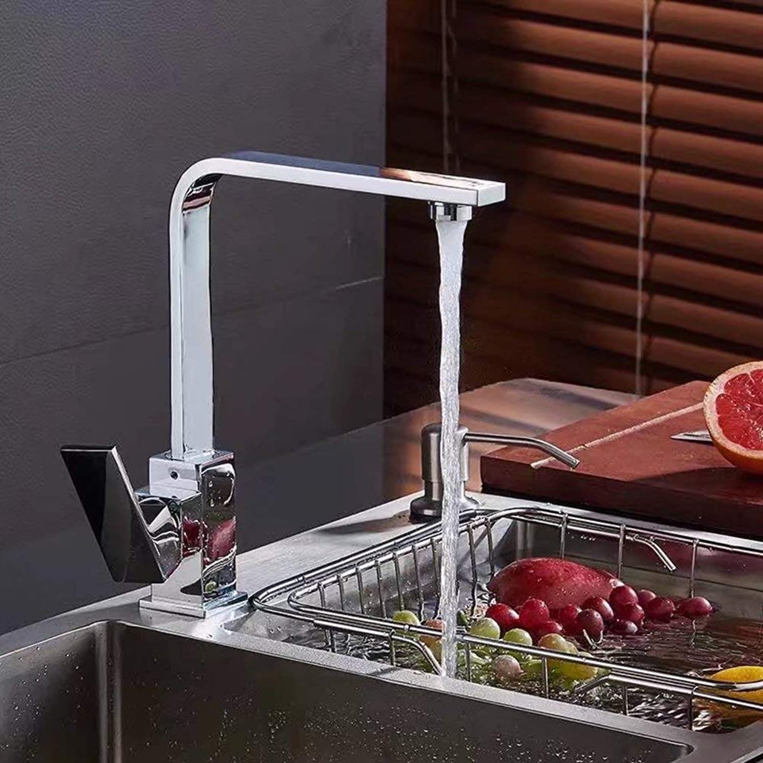 J&LILI Kitchen Faucet, Copper Faucet, Hot and Cold Mixed Green Faucet, 360 Degree redating Faucet