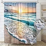 Riyidecor Beach Shower Curtain Sunset Summer Ocean Coastal Sunrise Hawaiian Cool Sea Wave Seaside Scene Island Blue Fabric Set Waterproof 72x72 Inch 12 Pack Hooks Bathroom Decor BB-JWXP