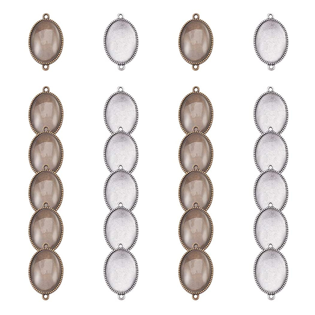 PH PandaHall 24pcs Double Holes Bracelet Connector Blanks Bezel Pendant Trays Cabochon Settings with 24pcs Glass Cabochon Cameo Tiles for Crafting DIY Jewelry Making