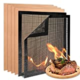 Ranekie 6PCS BBQ Grill Mats Non Stick Reusable Copper Grilling Mats for Outdoor Grill Barbecue Grill Mesh Mat Easy to Clean Stove Burner Cover Oven Liners 15.73 x 13 Inch