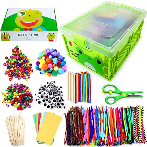 N&T NIETING 1212Pcs Arts and Crafts for Kids DIY Kids Arts Crafts Supplies Kit for Toddlers with Pipe Cleaners, Pony Beads, Pom Poms, Wiggle Googly Eyes, Folding Storage Box