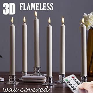 Set of 6  Flameless Windows Candles- Ivory Wax .With 6 Sliver Candlesticks .10 Inch, Flickering Battery Operated LED Candle Window Lights, Window Candles with Remote Control- Romance Dinner Candle