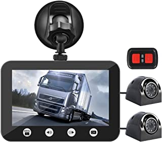 Máy thâu hình đặt trên xe ô tô – Vsysto Dual Camera Front Recording Dash Cam and Rear Backup Rearview reversing Camera Waterproof Lens,Night Vision,G-Sensor,Cameras for Trailer/Truck/Van/Tractor Rear View Camera Recorder DVR