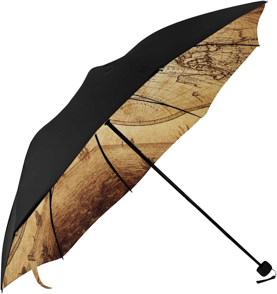 Men Umbrella Foldable Vintage Map Printing World Underside Attention brand 1733 67% OFF of fixed price