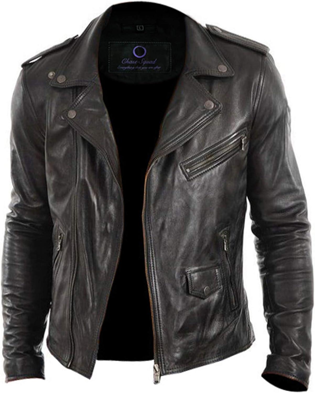 Chase Squad Tough Look Designer Real Leather Jackets Men – Men's Biker Lambskin Leather Jacket in Black
