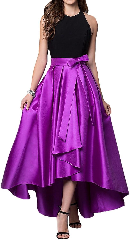 Maricopyjam Women's Halter Backless Draped HighLow Party Dress with Ribbon