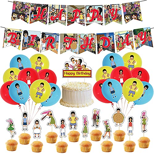 Bob's Burgers Party Supplies Funny Cartoon Family Theme Birthday Party Decorations of a Happy Birthday Decor Includes…