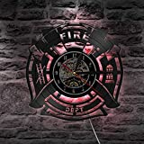 Vinyl Wall Clock Firefighters Vinyl Decorative Record Wall Clock Fire Truck Quartz Rescue Firefighter Lp Maltese Wall Clock Cross Fireman