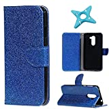 MAOOY Huawei Honor 6X Lederhülle, Kreative Flash Bling Glitter Entwurf Wallet Hülle für Huawei GR5 2017, Bookstyle Cover mit Standfunktion und Karten Slot und Magnetische für Huawei Honor 6X, Blau