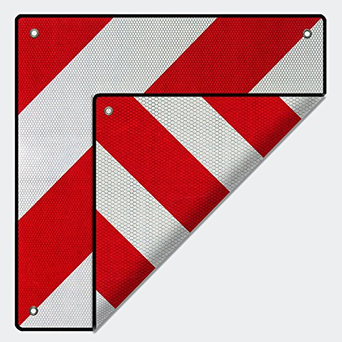 Rot-weißes Warnschild für Fahrradträger