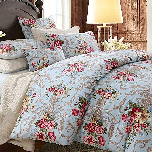 TEALP Boho Chic Shabby Floral Classic Collection Elegant Peony And Leaves Bedding Sets Design Double Size 3Pcs 1 Duvet Cover+ 2 Pillowcases/shams 100% Egyptian Cotton Duvet Cover Set
