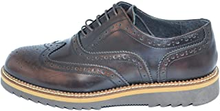 Scarpe francesina uomo stringata inglesina vera pelle abrasivato blu suola in gomma light zigrinata alta uomo stringate Malu Shoes | MaluShoes