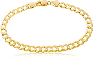 """TheDiamondDeal Mens Solid 14K Yellow Gold Shiny Cuban Comfort Curb Chain Bracelet with Lobster-Claw Clasp (7"""",8.5"""" or 10 inch)"""