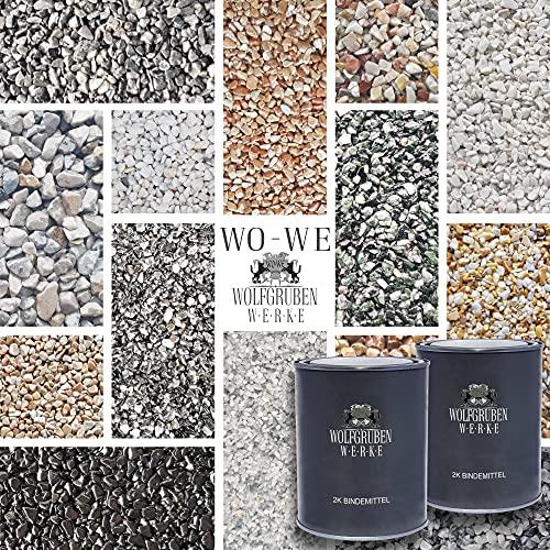 25Kg Steinteppich Set Marmorkies Bodenbeschichtung Nero Ebano Schwarz 4-8mm - 2qm