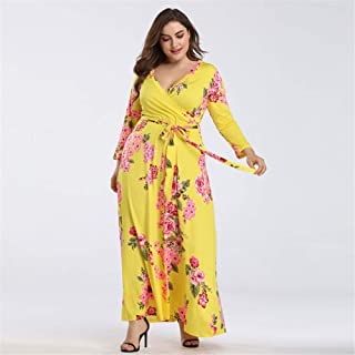 Women's Dresses, V-Neck Print Dress 2019 Summer New Large Size Women Waist Dress Party Travel Beach Holiday