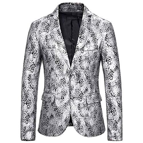 Homme Veste Blazer Affaires Paillette Slim Fit Bouton Costume Manteau Jacket pour Soirée Cocktail Fête Homme d'affaires Hiver fête de Mariage Or estampage Costume Costume Manteaux