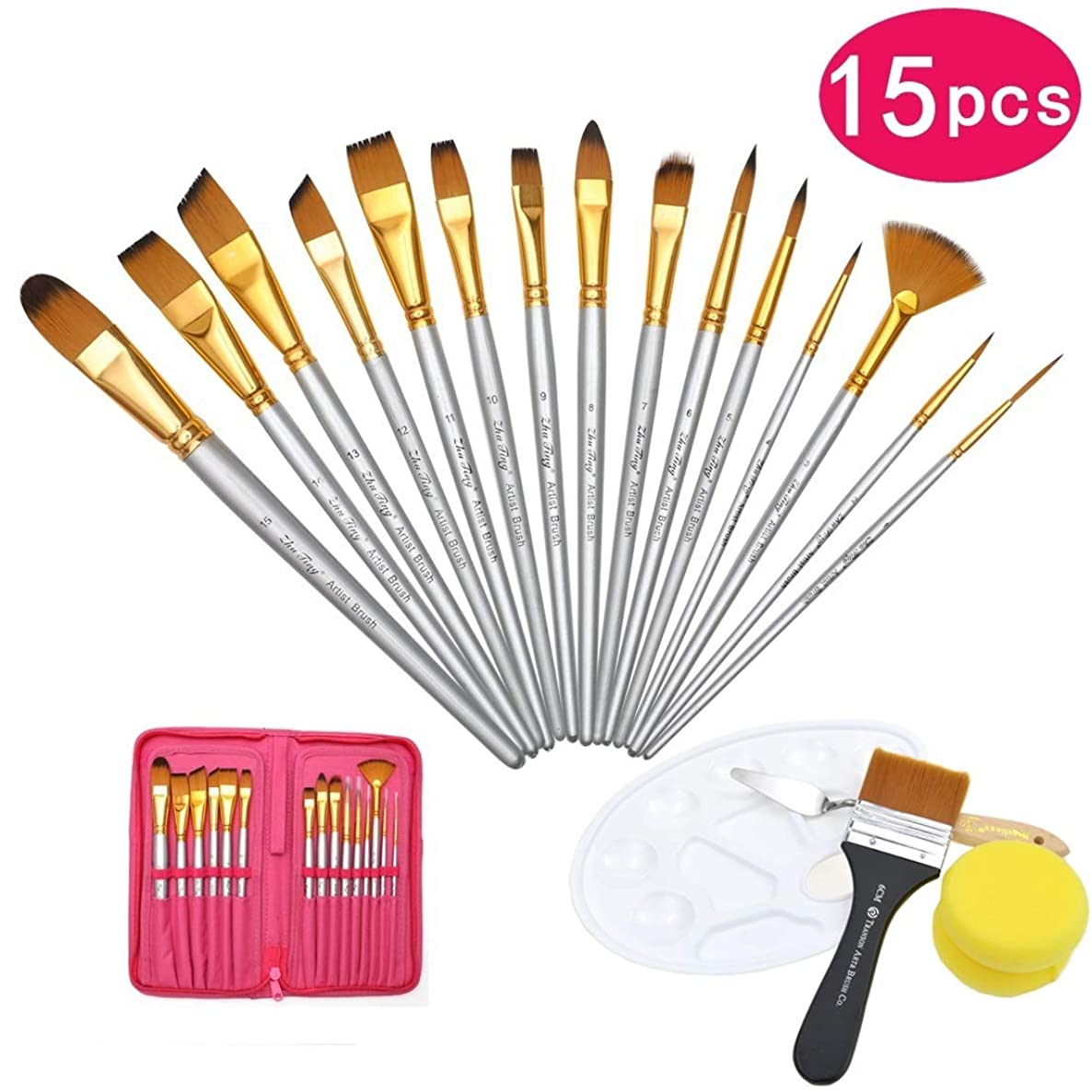 DerBlue 15 Pcs Paint Brush Set with Free Large Flat Brush,Palette Knife,Paint Palette and 2pcs Sponge for Acrylic, Oil, Watercolor and Gouache(Red)