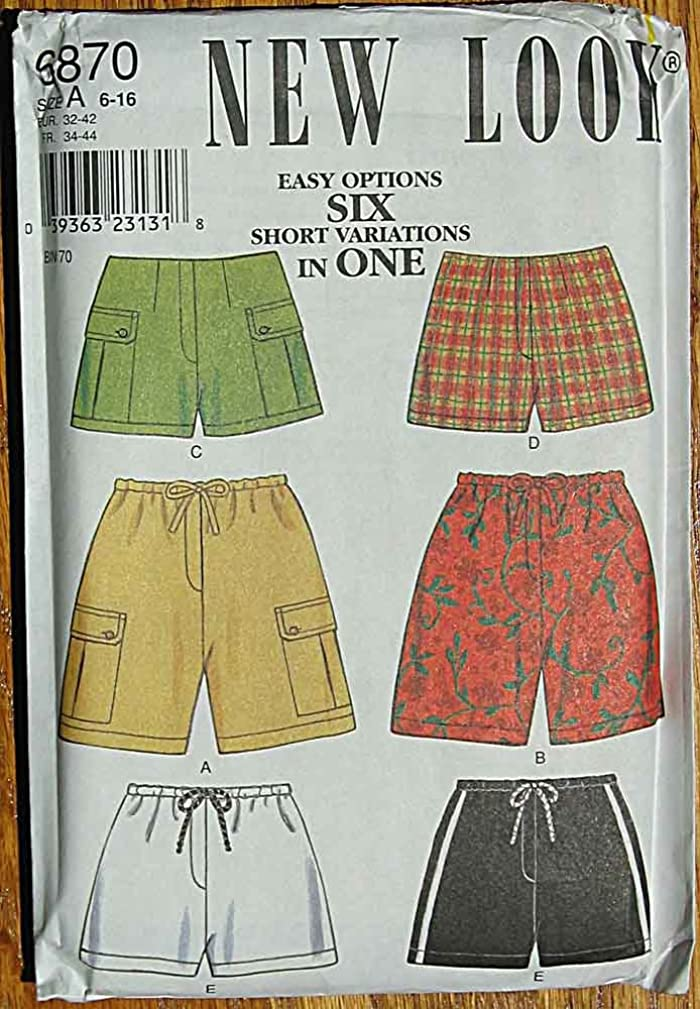 New Look 6870 Sewing Pattern Misses's Shorts 6 Easy Options, Sizes 6-16