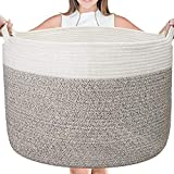 Large Cotton Rope Basket - 22' x 22' X 14' Blanket Storage Basket, Woven Baby Laundry Basket with Built-in Handles for Blanket Storage, Nursery Basket Soft Storage Bins, White & Brown