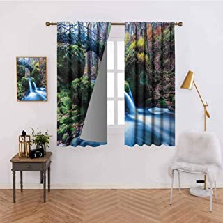 Abeocg Blackout Curtain Waterfall Flows Under an Ancient Stone Bridge Between Mossy Rocks in Luxembourg Thermal Insulated Drapery Drapes for Living Room W55 x L72 Inch