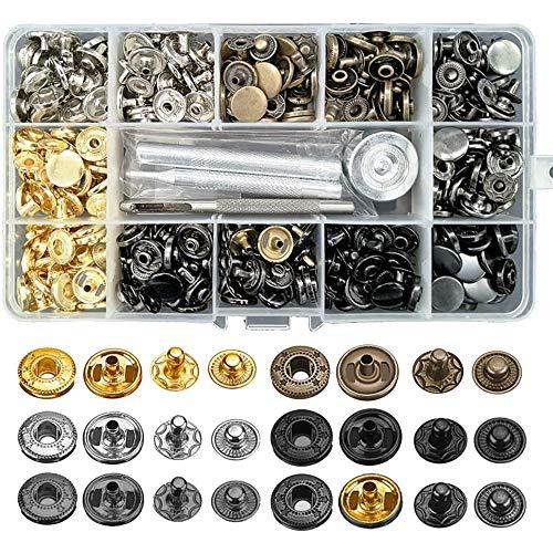 120Sets Druckknopf Set, BALFER Kupfer Druckknöpfe Metall Bronze Kleidung Snaps Taste mit Fixierwerkzeug Kit für Leder Handwerk Jacke Brieftasche Handtasche (6 Farben, 12 mm)
