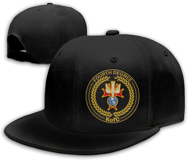 Tiayead Knights of Columbus Flat Bill Hat Snapback Hats for Men Baseball Cap Trucker Hats Mens Adjustable Black