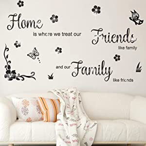 3D Acrylic Mirror Wall Decor Stickers, YOCOMEY DIY Motivational Family Mirror Wall Sticker Home Friends Quotes Wall Decor Warm Family Removable Decal for Home Office Decoration (Black)