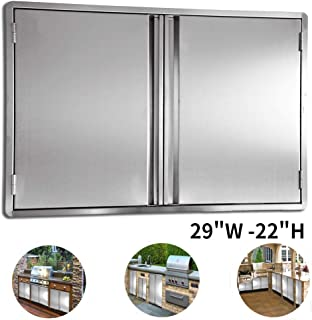 CIOGO Outdoor Kitchen Cabinets 29x22 Inch Double Wall BBQ Doors, 304 All Brushed Stainless Steel Double BBQ Access Doors for BBQ Island, BBQ Grill, Outdoor Kitchen or Outside Cabinet, Built-in