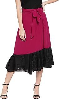 Martini Women Fuschia Pink & Black Wrap Flared Skirt