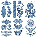 Leoars100% Plant-Based Ink Henna Tattoos, 6-Sheet 2 Weeks Long Last Temporary Tattoo, Matte Finish, Waterproof Realistic Look that Fades Naturally Tattoo Stickers for Adults Women Girls Kids