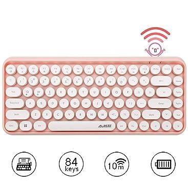 Teclado Bluetooth inalámbrico, Lindo Teclado Compacto Mini de 84 Teclas, tecnología de conexión inalámbrica Bluetooth de 2,4 GHz, Teclado Redondo ...