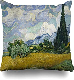 Ahawoso Throw Pillow Cover was Wheat Field Cypresses by Vincent Van Gogh Dutch Post Impressionist Oil On Canvas This His Decorative Pillowcase Square Size 18