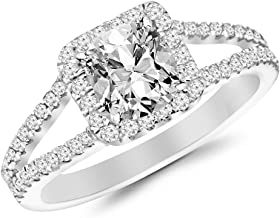 2.5 Ctw Cushion Cut Halo Split Shank Designer 14K White Gold Diamond Engagement Ring (H-I Color I1-I2 Clarity 2 Ct Center)