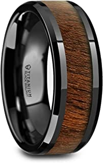 Kony | Titanium Rings for Men | Lightweight Titanium | Comfort Fit | Black Titanium Polished Beveled Edges Black Walnut Wood Inlaid Men's Wedding Ring - 8 mm
