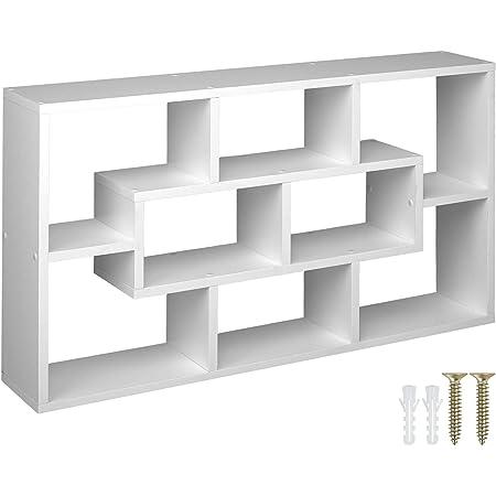 TecTake 800849 Étagère Murale avec 8 Compartiments en Bois MDF Meuble de Rangement pour Salon, Bureau, Chambre, Cuisine – Diverses Couleurs (Blanc)