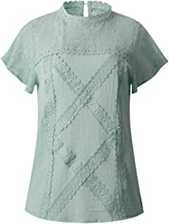 Short Sleeve Tee Blouse for Women,Amiley Women Lace Floral Short Sleeve Blouse Tops High Neck Hollow Out Solid T Shirts