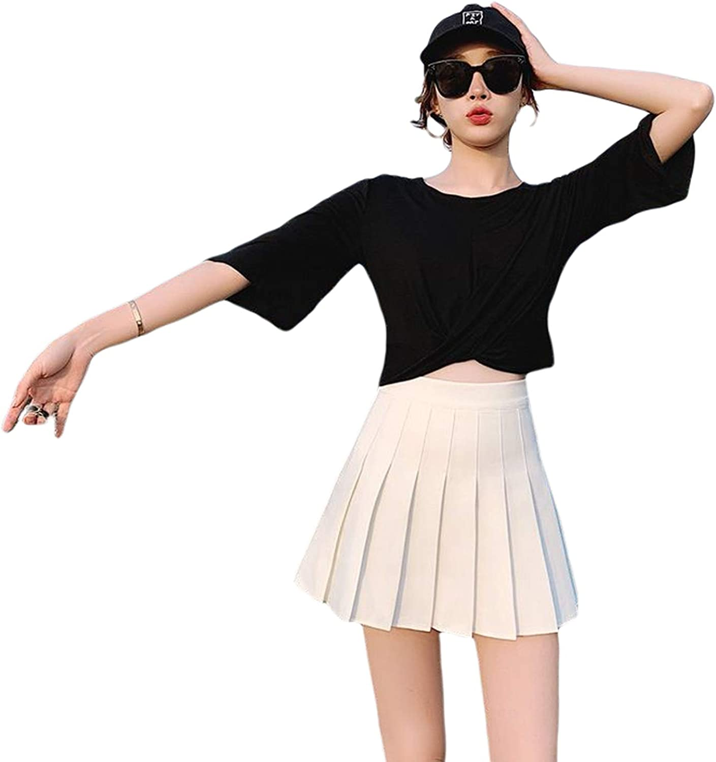 FAROOT Women's Casual High Waist Pleated A Line Solid Stretchy Mini Short Skirts