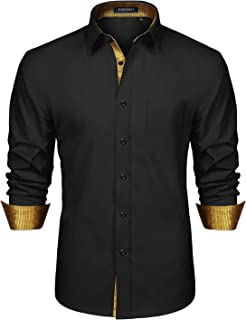 HISDERN Men's Inner Contrast Casual Shirts Formal Classic Button Down Dress Shirt Long Sleeve Printed Collar Slim Fit