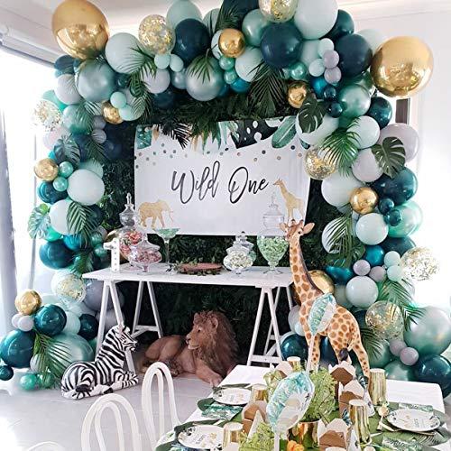 Jungle Safari Theme Party Supplies - 167 Stück Jungle Party Ballon Girlande Kit mit Palmblättern, bunte Luftballons für Jungen Mädchen Geburtstagsfeier, Babyparty Dekoration, Safari Party Dekorationen