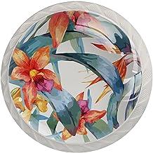 Lade knoppen ronde kristallen glazen kast handgrepen Pull 4 Pcs,bloem