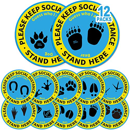 12 Pack 12' Social Distancing Floor Stickers, Keep 6 Feet Distance Floor Sign, Please Wait Stand Here Label, 6 ft Vinyl PVC Public Decal, Footprint Marker for Crowd Control Guidance, Office, Classroom
