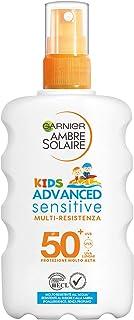 Garnier Ambre Solaire Spray Protettivo IP 50+ Advanced Sensitive Kids, Protezione Molto Alta, Multi-Resistenza, 200 ml