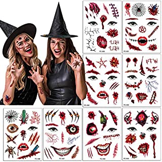 Halloween Temporary Face Tattoo Sticker 3D Zombie Scar Fake Bloody Wound for Cosplay Party Masquerade Prank Prop Decoratio...