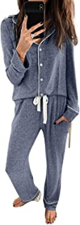 GOSOPIN Women Long Sleeve Button Down Shirt with Pants Casual Pajama Sets Large Blue