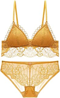 e2893c8928fd Enjoyment Underwear Set Sexy Deep V Gathered Triangle Cup Thin Lace  Embroidered Bra, No Steel