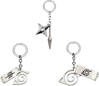 I3C Naruto Konoha Anti-Konoha Porte-clés Feuille de Bois Signe pendentifs Cosplay Accessoirs pour Homme Femme Naruto Fans ...
