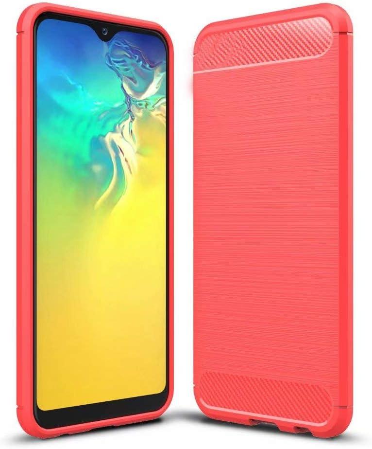 جراب Minwu لهاتف Huawei P Smart S، غطاء مطاطي ناعم ممتاز، مضاد للصدمات مع غطاء من السيليكون المرن المقاوم للانزلاق مع غطاء بتصميم من ألياف الكربون لهاتف Huawei P Smart S-Red
